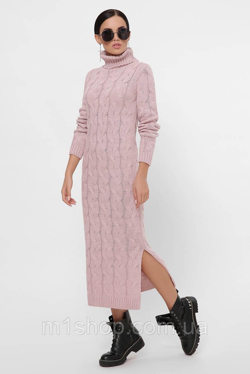 Женское длинное вязаное платье под горло (Cameron fup)