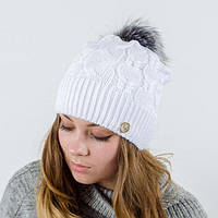 """Вязаная женская шапка """"Ruzana"""" с натуральным помпоном, фото 1"""
