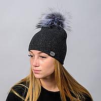 """Вязаная женская шапка """"Nika Lurex"""" с меховым помпоном, фото 1"""