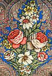 Чародейка Зима 1749-1, павлопосадский платок шерстяной (двуниточная шерсть) с шелковой вязаной бахромой, фото 6