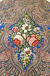 Чародейка Зима 1749-1, павлопосадский платок шерстяной (двуниточная шерсть) с шелковой вязаной бахромой, фото 7