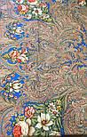 Чародейка Зима 1749-1, павлопосадский платок шерстяной (двуниточная шерсть) с шелковой вязаной бахромой, фото 9