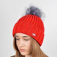 """Вязаная женская шапка """"Emma"""" с меховым помпоном, фото 1"""