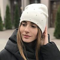 "Молодежная шапка ""Кармен"" украшенная бусинками."