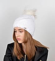 """Вязаная женская шапка """"Tina"""" с меховым помпоном, фото 1"""