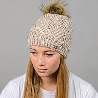 """Вязаная женская шапка """"Ester"""" с меховым помпоном, фото 1"""