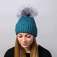 """Вязаная женская шапка """"Elza"""" с меховым помпоном, фото 1"""