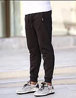 Спортивные штаны зимние мужские на флисе черные S-XL