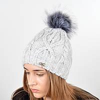 """Вязаная женская шапка """"Lucy"""" с меховым помпоном, фото 1"""