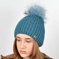 """Вязаная женская шапка """"Kelly"""" с меховым помпоном, фото 1"""