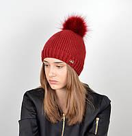 """Вязаная женская шапка """"Linda"""" с меховым помпоном, фото 1"""