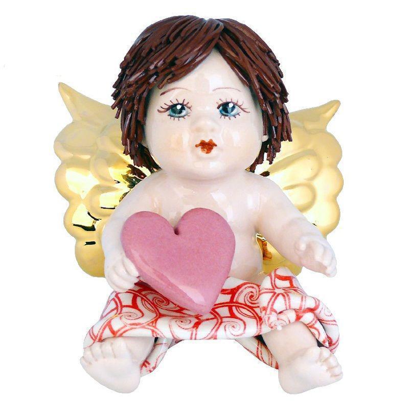 Фигурка cтатуетка коллекционная из фарфора, ручная робота, Италия «Ангел с сердцем»Zampiva, h-12 см. 93044