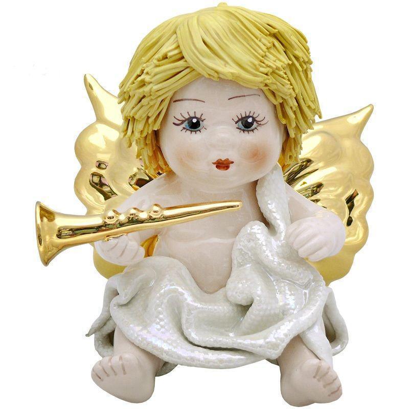 Фигурка колекционная из фарфора, ручная робота, Италия «Ангелочек с трубой» h-12 см. Zampiva 93152