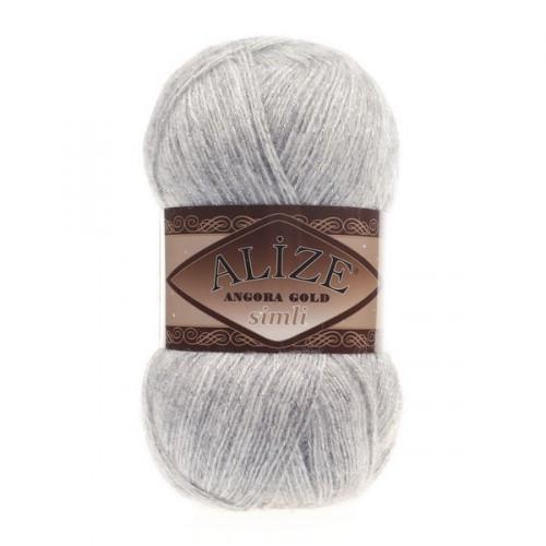 ANGORA GOLD SIMLI 208 светло-серый меланж - 20% шерсть, 5% металлик, 75% акрил