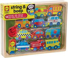 Alex Toys Деревянная шнуровка Машинки 1486B Little Hands String and Beep