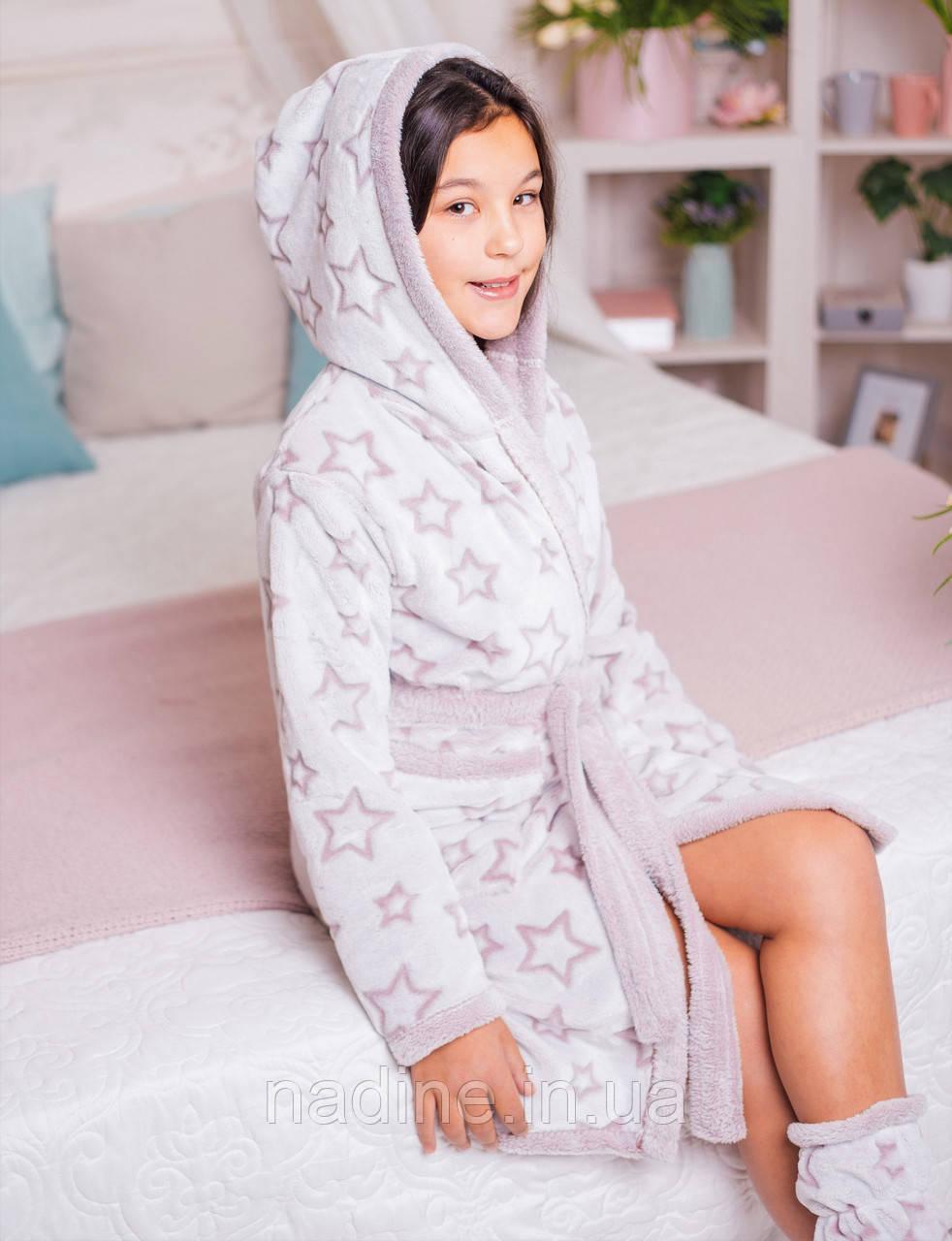 Роскошный Бамбуковый халат Eirena Nadine (40-563) рост 140 нежно  розовый