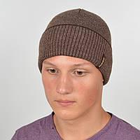 Мужская вязанная шапка NORD с отворотом беж + коричневый, фото 1
