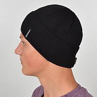 Мужская вязанная шапка NORD с отворотом черный, фото 1