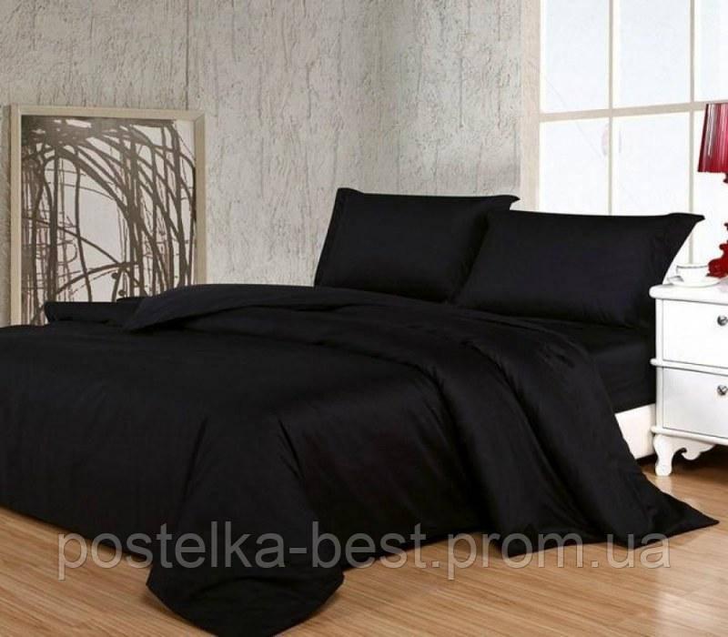 Полуторный комплект.Черное постельное постельное белье Простыня на резинке, 50*70