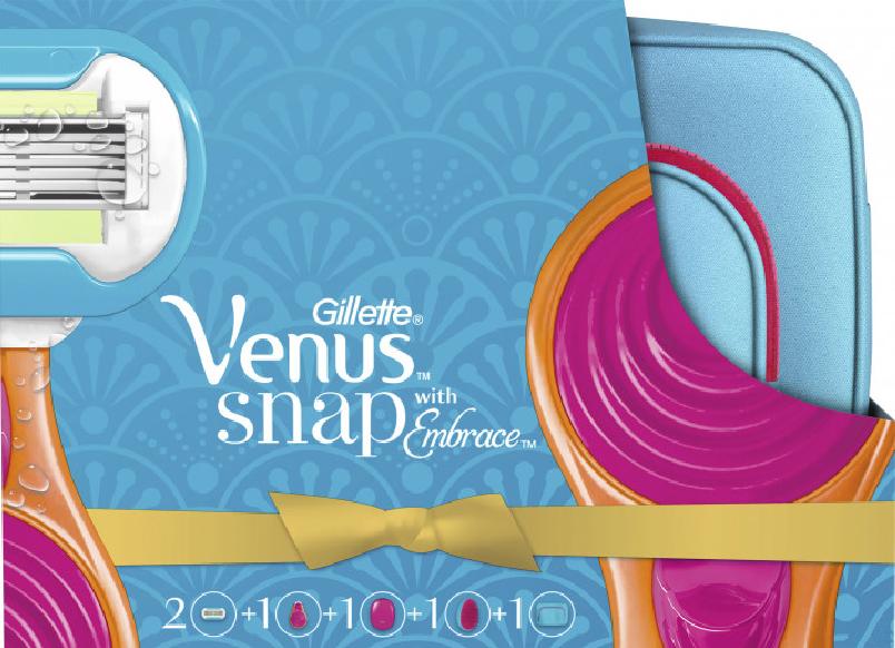 Подарунковий набір Gillette Venus Snap (2 змінні касети + гребінець + дорожня косметичка)