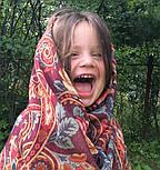 Для души 1697-6, павлопосадский шарф-палантин шерстяной (разреженная шерсть) с осыпкой, фото 3