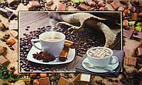 Салфетка-скатерть пластиковая на кухонный стол, Кофейные мотивы 100 см х 60 см,