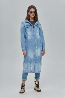 Джинсовый тренч ниже колена плащ джинс лето весна размер 42 44 46