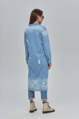 Джинсовый тренч ниже колена плащ джинс лето весна размер 42 44 46, фото 2