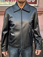 Куртка мужская кожаная натуральная на молнии короткая тонкая