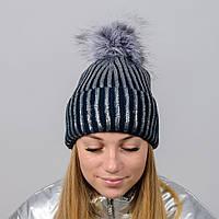 """Блестящая женская шапка """"Dinara"""" с меховым помпоном, фото 1"""