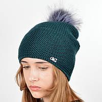 """Вязаная женская шапка """"Doris"""" с меховым помпоном, фото 1"""