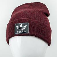 Молодежная шапка Рожки Adidas (реплика) бордо