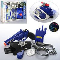 Набір поліцейського P008-P008A пістолет, каска, рація, наручники, 2 види, муз., бат. (табл.), кор.,