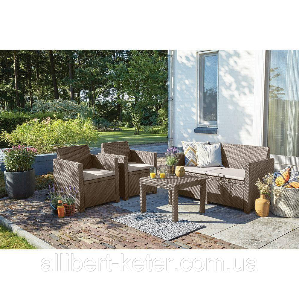 Набір садових меблів Alabama Set Cappuccino ( капучіно ) з штучного ротанга ( Allibert by Keter )