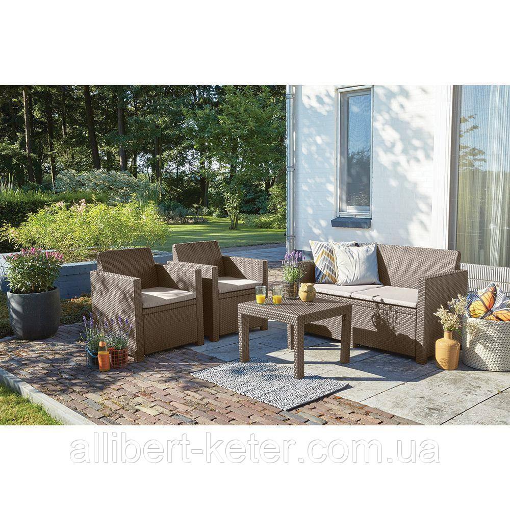 Набор садовой мебели Alabama Set Cappuccino ( капучино ) из искусственного ротанга