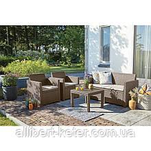 Набор садовой мебели Alabama Set Cappuccino ( капучино ) из искусственного ротанга ( Allibert by Keter )