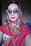 Лидия 1758-5, павлопосадский платок (шаль) хлопковый (саржа) с подрубкой, фото 5