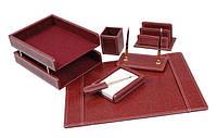 Настольный деревянный канцелярский набор с кожзаменителем (7 предметов) DR7W-1A