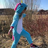 ✅ Детская пижама Кигуруми Единорог голубой 140 (на рост 138-148 см)