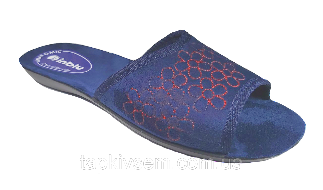 Тапки женские inblu.Модель NP-5X (004)синие Pantofole Donna