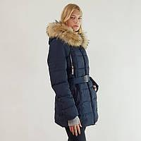 Пальто-пуховик женский Snowimage с капюшоном и натуральным мехом синий, длинный, распродажа, фото 1