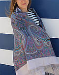 Драгоценная 1292-2, павлопосадский платок (шаль) из уплотненной шерсти с шелковой вязанной бахромой, фото 7