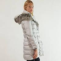 Пуховик полупальто зимний женский Snowimage с капюшоном и натуральным мехом длинный серый