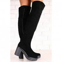 Зимние женские ботфорты-европейка, из натуральной замши, черные, на небольшом устойчивом каблуке