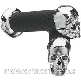 Мото ручки на чоппер с черепом  Pro Grip Chromed Skull  Ø 22-25 мм и 24-28 мм / длина 140 мм PA0862CRSK02