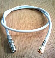 Переходник SMA-male  - F-female с кабелем RG-58 белый  0.7 м, фото 1