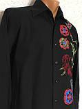 Рубашка чёрная с вышивкой Batistini (S/38), фото 2