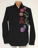 Рубашка чёрная с вышивкой Batistini (S/38), фото 3