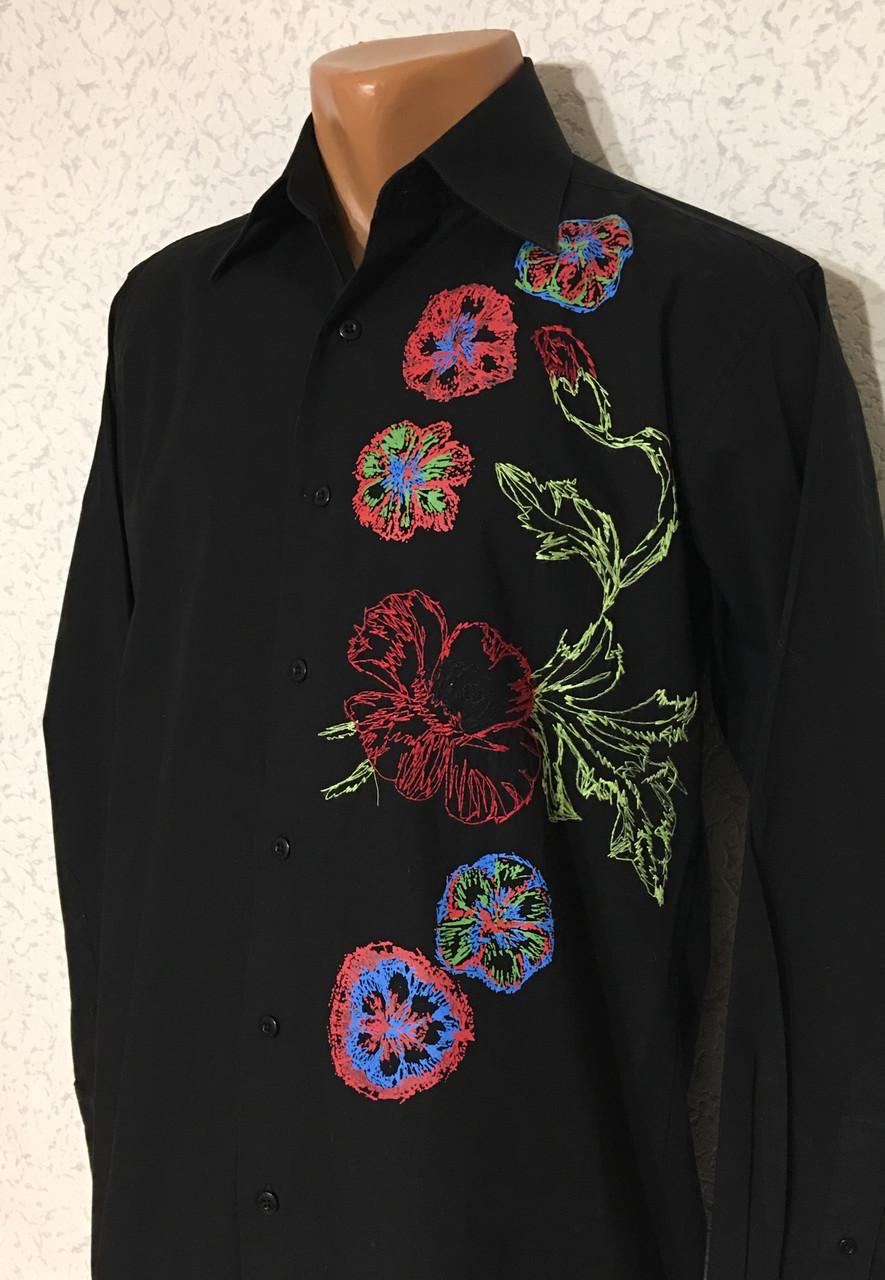 Рубашка чёрная с вышивкой Batistini (S/38)