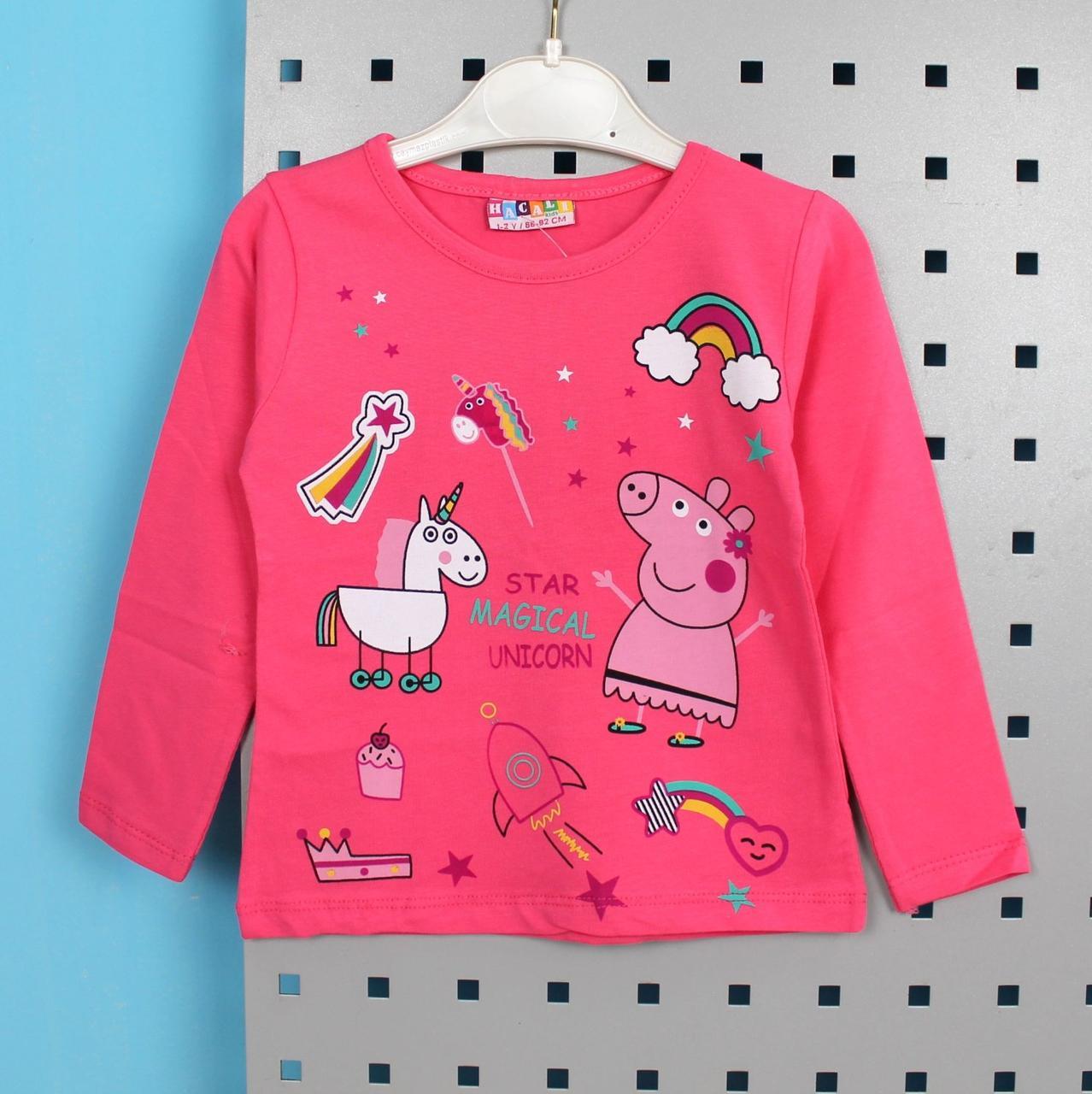 Кофта з малюнком для дівчинки Пеппа Рожева тм HACALI розмір 1-2 роки